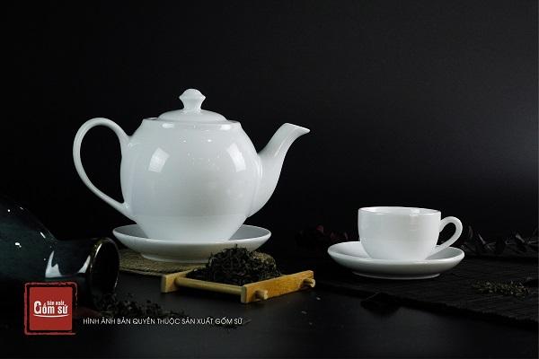 [ Quà tặng doanh nghiệp bằng gốm sứ ] Bộ ấm chén - Bộ ấm trà Quà tặng in logo giá rẻ siêu đẹp