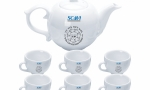Bộ bình trà gốm sứ cao cấp bát tràng làm quà tặng đại hội in logo giá tốt tại xưởng